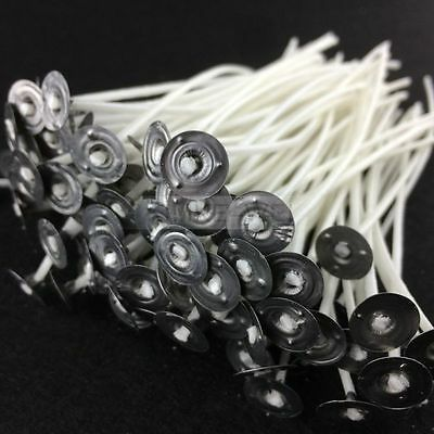 100x Candle Wicks Pre Waxed With Sustainers Cotton Coreless 7cm