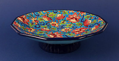 Nice Art Deco French Emaux de Longwy Pottery Floral Enamel Centre Piece Tray