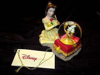 disney snowglobe BELLE - BEAUTY AND THE BEAST - with LUMIERE. with tag