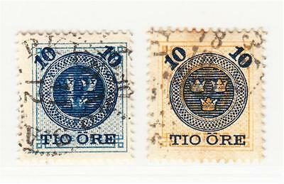 SWEDEN  :  1889  10 ore surcharges used  (2 scans)