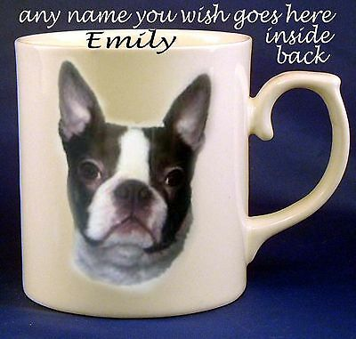 Boston Terrier Dog Fine Bone China Mug + Any Name You Wish  Added Free