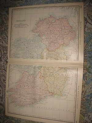 Large Gorgeous Antique 1880 Ireland Map Railroad County Maritime Superb Rare Nr