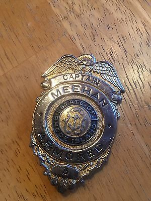 "Obsolete Badge - Meehan Armored , Rhode Island Captain 3"" Badge"