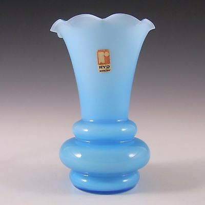 Ryd 1970s Scandinavian Blue Glass Cased Vase - Label