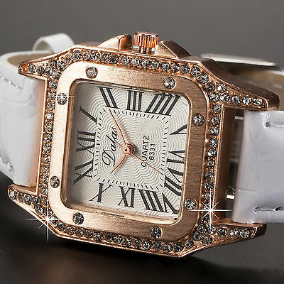 Luxury Lady Women Retro Roman Analog Crystal Rose Gold Case White Leather Watch