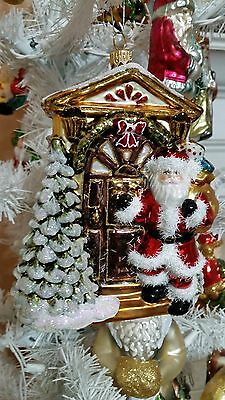 Santa W Tree Children Wreath Kitten Glass Christmas Ornament Poland 020073