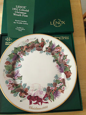 LENOX Colonial Christmas Wreath Plate 1992 NORTH CAROLINA 12TH IN SERIES & BOX