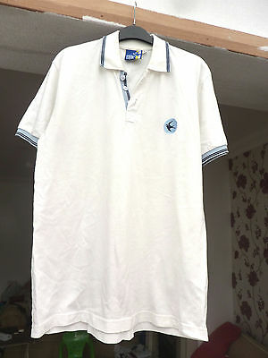 white/blue Cardiff City football top with  Bluebird badge City Street Wear sz S