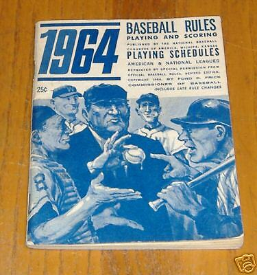 baseball rules & playing schedules 1964