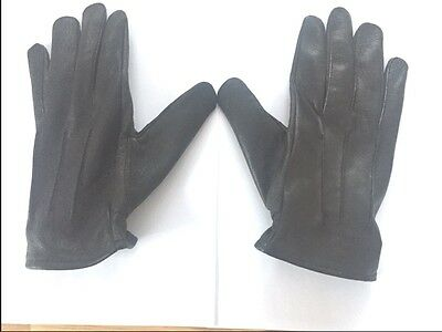 Size Large Men's Genuine Sheep's Soft Leather Black Driving Gloves UK Seller NEW