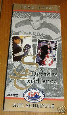 AHL schedule1995-1996 cover marc crawford emile francis