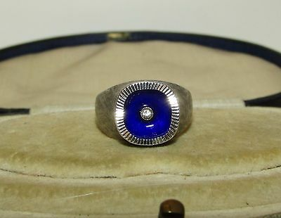 Rare, Victorian, French, Silver 835 Ring With Limoges Enamel And Diamond