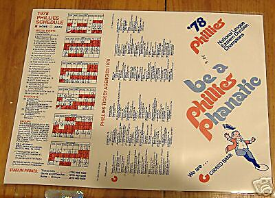 schedules MLB     phillies 1978