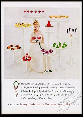 1959 Jello Jell-O 10 Christmas dessert color photo vintage print ad