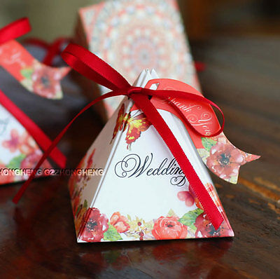 25PCS Red Flower Wedding Party Sweets Cake Candy Gift Favour Favors Boxes 01