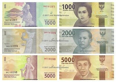 Indonesia 1000 + 2000 + 5000 Rupiah 2016 Set of 3 Banknotes New Design 3 PCS UNC
