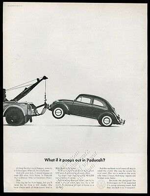 1965 VW Volkswagen Beetle classic car and tow truck photo vintage print ad