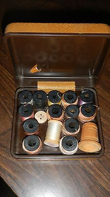 Belding Corticelli travel sewing case thread hard leather vintage