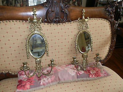 Spectacular Pair Of Antique Victorian Candle Holder Sconces W/beveled Mirrors