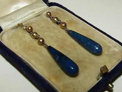 Long, Antique, 9 Ct Gold Earrings With Fine Lapis Lazuli Gems