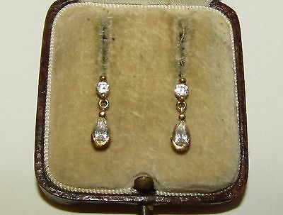 Delicate, Antique, 14Ct Gold Earrings With Fine White Sapphire