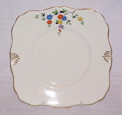Tuscan China Cake or Sandwich Serving Plate Handpainted Enameled Antique