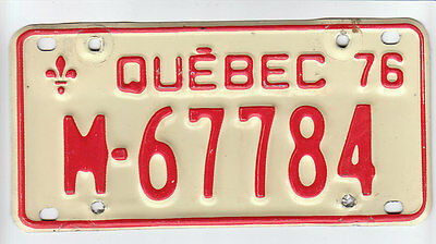 1976 Quebec Canada Motorcycle License Plate M - 67784 Moto Motocyclette Bike