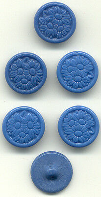 6 wedgewood blue vintage glass buttons