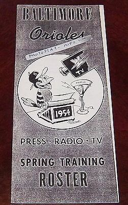 Baltimore Orioles Spring training Roster and Schedule 1954 Photostat copy