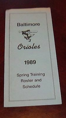 Baltimore Orioles Spring training Roster and Schedule 1989