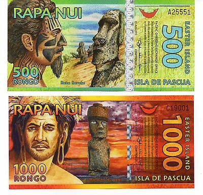 EASTER ISLAND 500 AND 1000 Rongo - Set of 2 Crisp UNC Polymer Banknotes