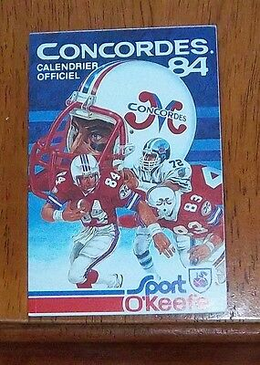 concordes pocket schedule 1984 CFL