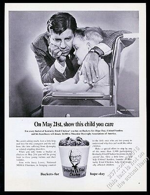 1968 Jerry Lewis MDA kid photo KFC Kentucky Fried Chicken vintage print ad