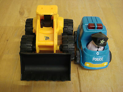 2 x toy cars, police car and digger