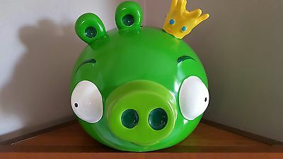 Rare Ceramic Angry Birds King Pig Coin Piggy Bank Retired HTF!