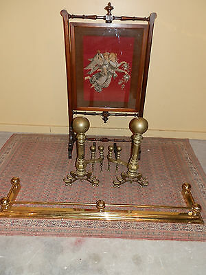Exceptional Pair Of Large Victorian Brass Cannon Ball  Andirons