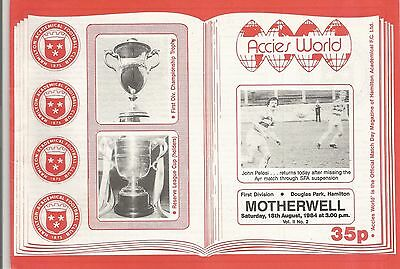 PROGRAMME  HAMILTON ACADEMICALS (ACCIES) v MOTHERWELL