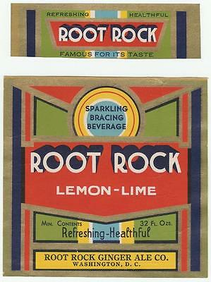 Root Rock Lemon-Lime Bottle & Neck Labels Root Rock Ginger Ale Co. Washington,DC