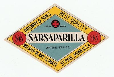 Drewry & Sons Early 1900's Sarsaparilla Original Soda Label St. Paul, Minnesota