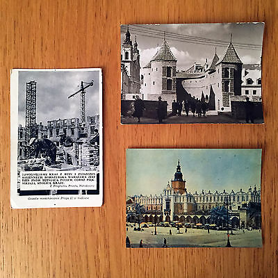 Collection of 3 Vintage Postcards from Poland Circa 1950s