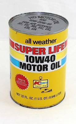 Vintage Kmart Super Life 10W-20W-40 Full 1 Quart Cardboard Oil Can
