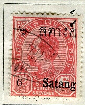 THAILAND;   1909 early SATANG surcharged issue Mint hinged 6s. on 6a. value