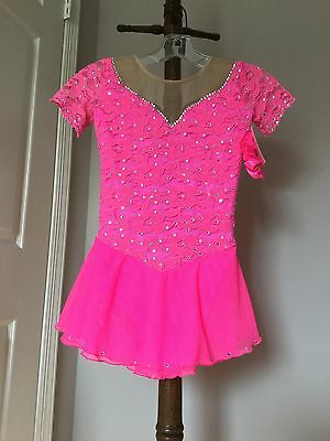 Icings New CS HOT PINK LACE COMPETITION ICE ROLLER SKATING DANCE BATON DRESS