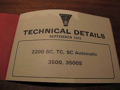 ROVER TECHNICAL DETAILS,1973.Staff Guidance only!...