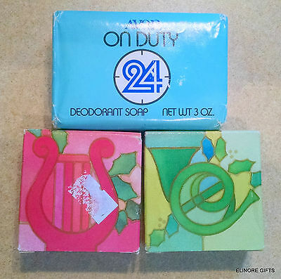 Avon Soap Set Of 3 Soaps Two Holiday 1 On Duty 24 Unused