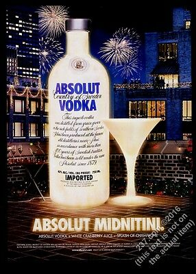 2004 Absolut Midnitini New Year's Eve theme vodka bottle Regis Fialaire photo ad