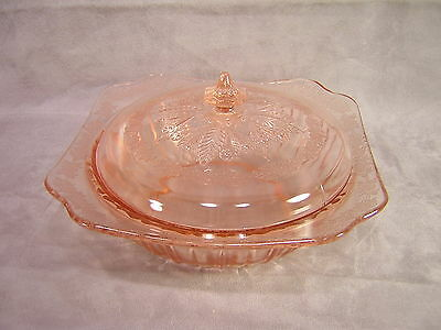 Jeannette Glass Pink Depression ADAM Vegetable Bowl with Lid