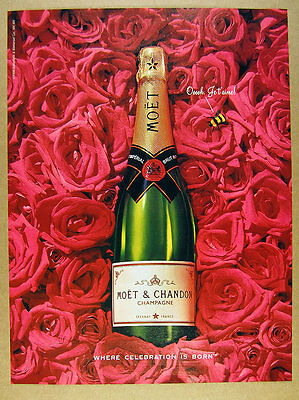 1995 Moet Imperial Brut Champagne bottle roses bumblebee photo vintage print Ad