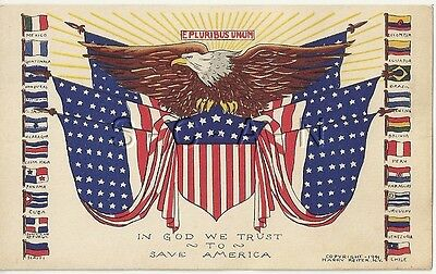 WWII Org US PC- Latin American & US Flags- In God We Trust to Save America- 1941