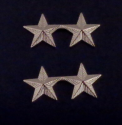 2 stars 5/8 CORRUGATED Silver Pair Collar Pins Rank Insignia Police Chief/Deputy